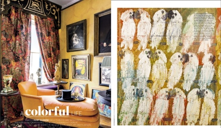"House Beautiful article has an 8 page spread on ""Where Art Meets Design"" by Hunt Slonem"